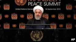Presiden Iran Hassan Rouhani berpidato pada KTT Perdamaian Nelson Mandela di Sidang Umum PBB di markas PBB di New York, Senin, 24 September 2018.