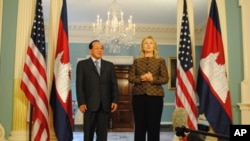 Cambodia's foreign minister met with US Secretary of State Hillary Clinton in Washington on Tuesday.
