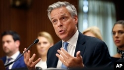 Former Utah Gov. Jon Huntsman testifies during a hearing of the Senate Foreign Relations Committee on his nomination to become the U.S. ambassador to Russia, on Capitol Hill, Sept. 19, 2017 in Washington.