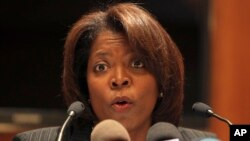 U.N. world food program agency director Ertharin Cousin speaks during a news conference in Beirut, Lebanon, (File photo).