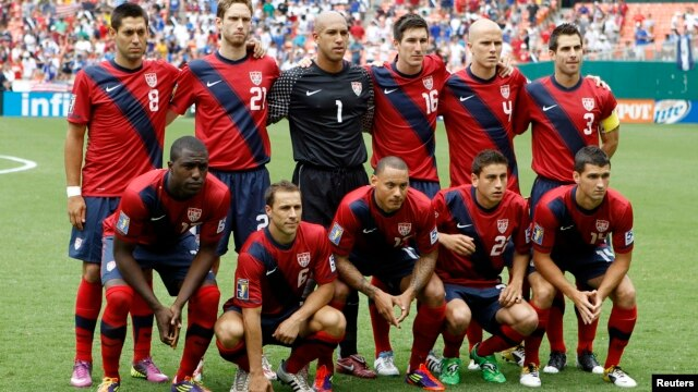 U.S. soccer team pose for a group photo in Washington, June 19, 2011.