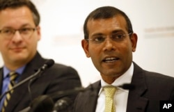 FILE - Former Maldives president Mohamed Nasheed speaks during a press conference in London, Jan. 25, 2016.