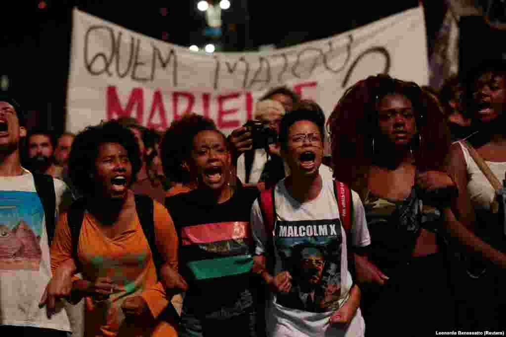 Manifestação em São Paulo, contra o assassinato de Marielle Franco