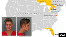 Map of Justin Bieber's recent arrests in Miami, Florida and Toronto, Ontario