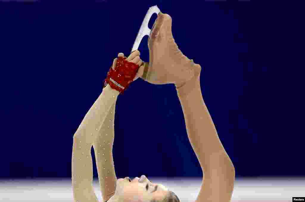 Elena Radionova of Russia competes in the ladies short program during the ISU World Figure Skating Championship in Shanghai, China.