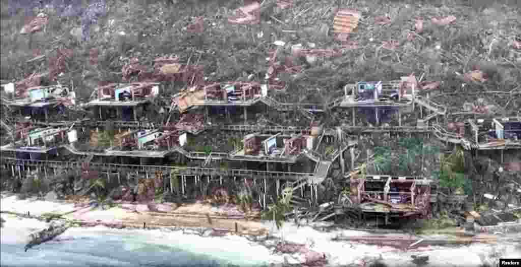 Aerial view of devastation following Hurricane Irma at Bitter End in Virgin Gorda, British Virgin Islands, Sept. 8, 2017, is seen in this still image taken from social media video.