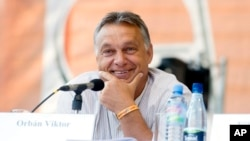 Hungarian Prime Minister Viktor Orban smiles as he is introduced before delivering a speech at the Balvanyos Summer University and Students' Camp in Baile Tusnad, Romania, July 25, 2015.