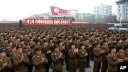 지난 2013년 2월 북한 평양 김일성광장에서 3차 지하 핵실험을 기념하는 대규모 군인 집회가 열렸다. (자료사진)
