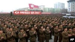 지난 2월 북한 평양 김일성광장에서 3차 핵실험을 자축하기 위한 대규모 집회가 열렸다.