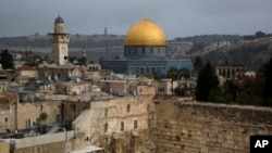 A view of the Western Wall and the Dome of the Rock, some of the holiest sites for for Jews and Muslims, is seen in Jerusalem's Old City, Dec. 6, 2017.