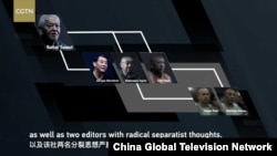 This graphic from China Global Television Network's 'Challenges of Fighting Terrorism in Xinjiang: The Textbooks' shows editors the documentary accuses of spreading extremist ideas.