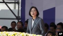 台湾总统蔡英文在台北举行的2019年双十节国庆庆典上讲话。