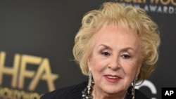 FILE - Doris Roberts arrives at the Hollywood Film Awards at the Beverly Hilton Hotel on Nov. 1, 2015, in Beverly Hills, Calif.