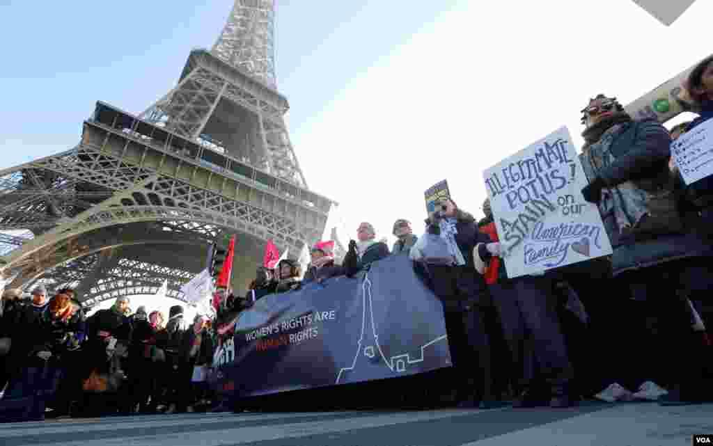 Протесты в Париже после инаугурации Дональда Трампа. 21 января 2017