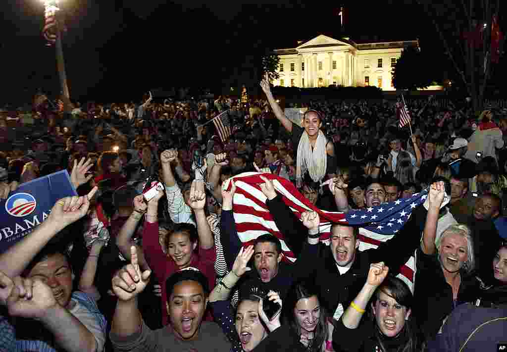 Crowds gather outside the White House early May 2, 2011, to celebrate after President Barack Obama announced the death of Osama bin Laden.