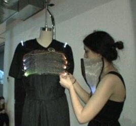Tabor Barranti uses a microprocessor to to help her garment change colors.