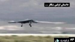 Imagen mostrada por la televisión iraní del drone cuando supuestamente aterrizaba en Afganistán.