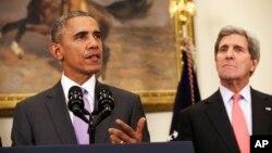 جان کری در کنار رئیس جمهوری آمریکا.