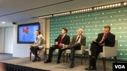 专家在哈德逊研究所讨论美国如何支持台湾与台湾在第一岛链战略的角色(美国之音钟辰芳拍摄)