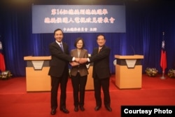 中华民国第14任总统候选人首场电视政见发表会于民视举行。(中央选举委员会)