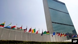 FILE - Flags of countries of the world flutter outside the United Nations headquarters in New York, Sept. 13, 2005