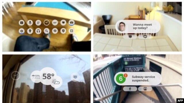 Korisnik gleda rani prototip Guglovih futurističkih naočara povezanih sa internetom.