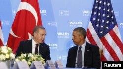 Presidentes da Turquia Recepçe Erdogan (`esquerda) e dos Estados Unidos, Barack Obama