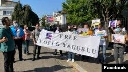 Strasburqda Azərbaycan nümayəndəliyinin qarşısında Tofiq Yaqubluya dəstək aksiyası