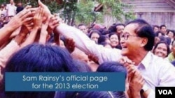A screenshot of the Facebook page of Cambodian opposition leader Sam Rainsy on June 14, 2013, showing a fan number of over 70,000.