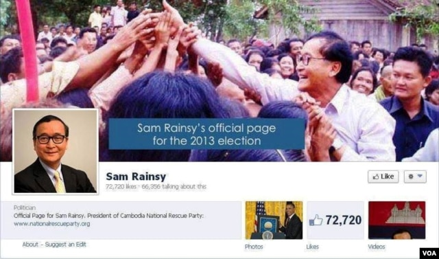 FILE - A screenshot of the Facebook page of Cambodian opposition leader Sam Rainsy on June 14, 2013.
