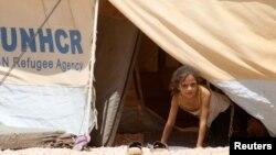 지난 8월 요르단 마프라크의 시리아 난민 캠프에서 유엔난민고등판무소가 제공한 천막에 살고 있는 소녀. (자료 사진)