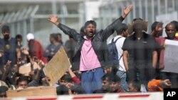 希腊莱斯沃斯难民羁押营入口