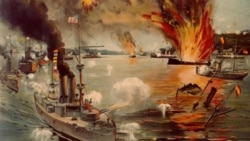 A painting of the Battle of Manila Bay in 1898 in which the United States Navy defeated the Spanish Navy