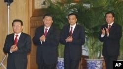 Sebagian anggota politbiro Tiongkok, dari kiri: Li Changchun, Xi Jinping, Li Keqiang dan He Guoqiang (Foto: dok). Tujuh dari sembilan komite tetap politbiro Tiongkok akan segera pensiun, termasuk Presiden Hu Jintao dan Perdana Mentri Wen Jiabao.