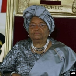 Liberian President Ellen Johnson-Sirleaf sits at a ceremony to mark her second presidential inauguration at the Capitol in Monrovia, Liberia, January 16, 2012.