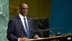 FILE - South Sudan's Vice President Taban Deng Gai addresses the United Nations General Assembly, Sept. 23, 2017, at U.N. headquarters in New York.