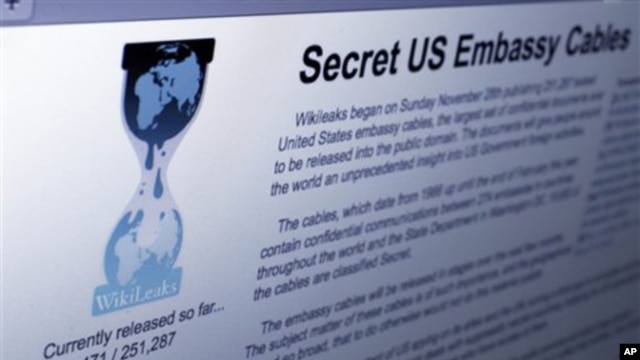The Internet homepage of Wikileaks is shown in this photo taken in New York,  1 Dec.  2010.