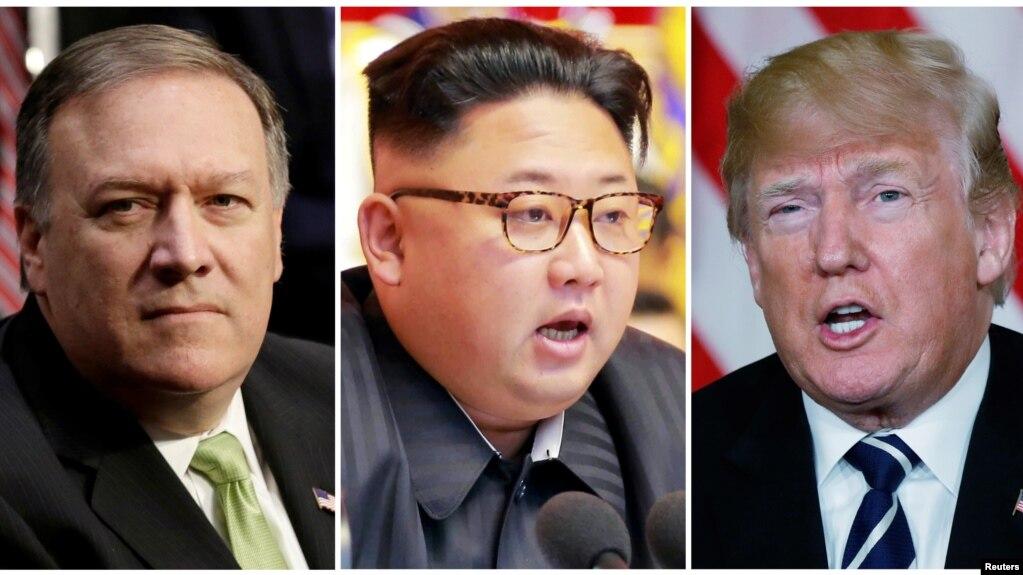 Tư liệu: NT Mike Pompeo (trái), lãnh tụ Triều Tiên Kim Jong Un (giữa), và TT Trump (phải) REUTERS/Yuri Gripas (L) & KCNA handout via Reuters & Kevin Lamarque (R) -