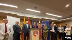 Светлана Тихановская в посольстве Литвы в Вашингтоне на презентации кокуса «Друзья Беларуси» - межпартийной группы Палаты представителей США. 21 июля 2021