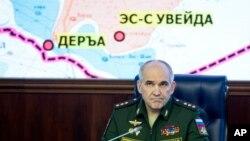 Le colonel Sergei Rudskoi de l'Etat-major russe s'entretient avec la presse à Moscou, Russie, 5 mai 2017.