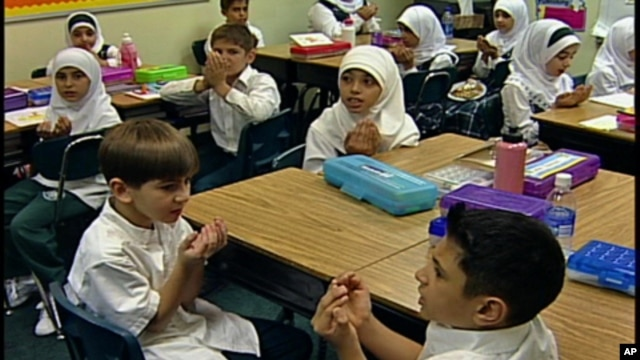 Students at the Muslim American Youth Academy in Dearborn, Michigan follow the standard state curriculum. They also learn about Islam and take Arabic as a foreign language.