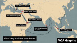 """Key Chinese shipping routes along the country's new maritime """"silk road"""""""