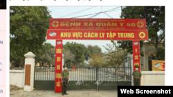 Khu cách ly tập trung thuộc Quân y 40, tỉnh Điện Biên. Photo Báo tin tức via TTXVN