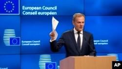 Chủ tịch Hội đồng Châu Âu Donald Tusk tại một cuộc họp báo ở Brussels, Bỉ, ngày 29/3/2017.
