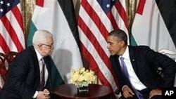 유엔 총회기간에 만난 오바마 미 대통령(우)과 압바스 팔레스타인 수반(좌)