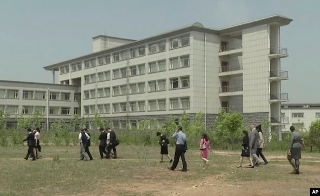 FILE - This image made from a May 21, 2014, video shows a building at the Pyongyang University of Science and Technology.