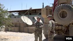 在敘利亞美軍基地的美軍士兵。