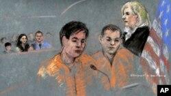 Диас Кадырбаев и Азамат Тажаяков в федеральном суде Бостона, США. 13 августа 2013 г. (зарисовка с судебного процесса)