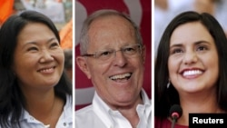 ຈາກຊ້າຍ, ຜູ້ລົງແຂ່ງຂັນເອົາຕຳແໜ່ງປະທານາທິບໍດີ ເປຮູ ທ່ານນາງ Keiko Fujimori, ທ່ານ Pedro Pablo Kuczynski ແລະ ທ່ານນາງ Veronika Mendoza. ປະເທດ ເປຣູ ຈັດການເລືອກຕັ້ງເອົາຕຳແໜ່ງປະທານາທິບໍດີ ໃນວັນອາທິດມື້ນີ້.