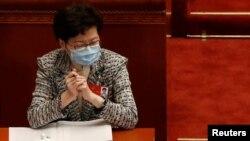 香港特首林鄭月娥在北京人大會堂出席全國政協年度會議開幕式。(路透社2020年5月21日)